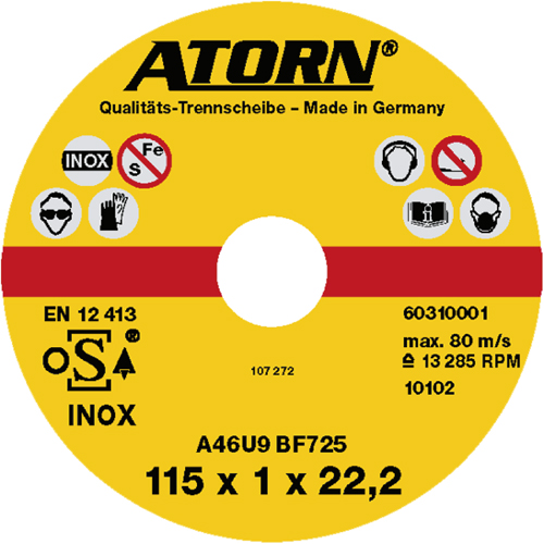 ATORN cutting disc for stainless steel 125 x 1.0 x 22 mm INOX disc
